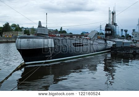 Kaliningrad, Russia - July 2, 2010: Outdoor exposition of old russian submarine B-413 in the Museum of the World Ocean