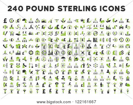 240 British Business vector icons. Style is bicolor eco green and gray flat symbols on a white background. Pound sterling icon is basic element.
