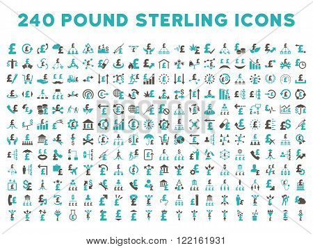 240 British Business vector icons. Style is bicolor grey and cyan flat symbols on a white background. Pound sterling icon is basic element.