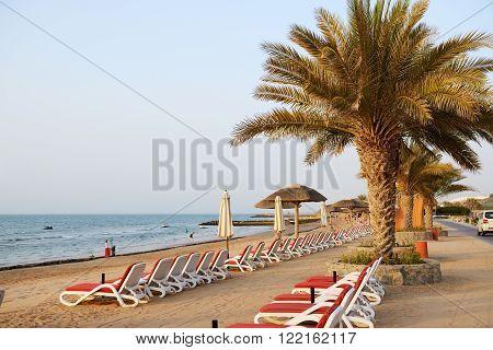 Beach during the sunset Ras Al Khaima UAE