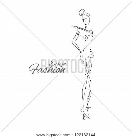 Vector fashion model. Vector sketch silhouette. Vector vintage lady. Dress pencil sketch. Vector fashion outline. Vector style  lady. Vector fashion girl.
