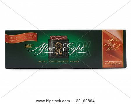 PULA, CROATIA - MARCH 15, 2016: Box of Nestle's After Eight mint chocolate thins on white background. Established in 1962 After Eight is recognized as the leading mint chocolate brand.