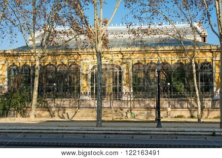 The Hivernacle in the Citadel Park of Barcelona. The Hivernacle is a art nouveau building and a conservatory, built in 1884, situated in the Park de la Ciutadella. in the heart of Barcelona. Inaugurated in 1888 to the World Exposition