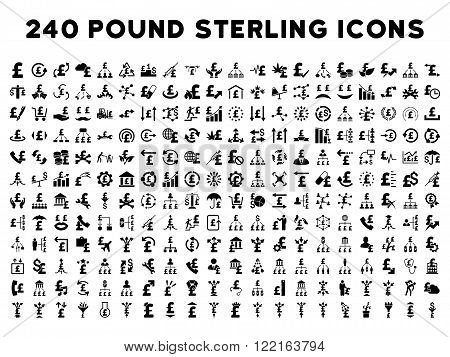 240 British Business vector icons. Style is black flat symbols on a white background. Pound sterling icon is basic element.