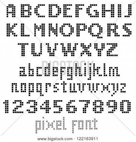 Pixel font set of letters for your design