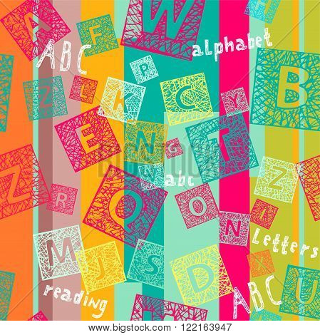Seamless colorful bright  background with letters and lines