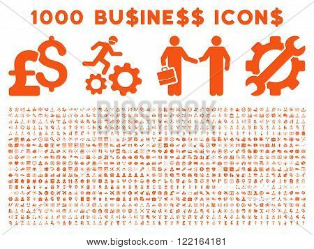 1000 Business vector icons. Pictogram style is orange flat icons on a white background. Pound and dollar currency icons are used
