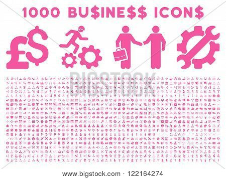 1000 Business vector icons. Pictogram style is pink flat icons on a white background. Pound and dollar currency icons are used