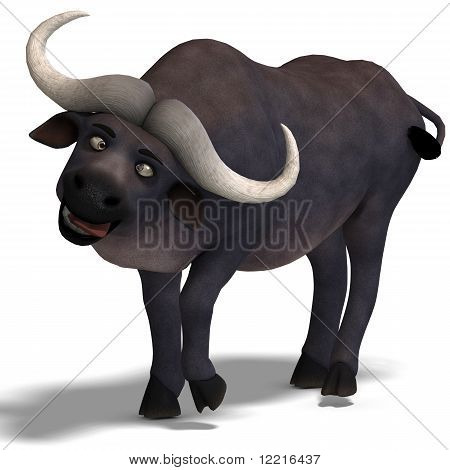 very cute and funny cartoon buffalo