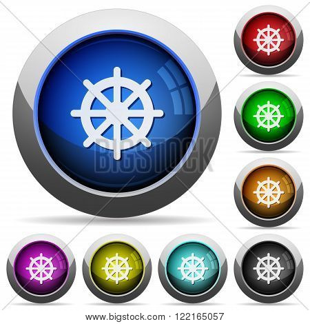 Set of round glossy steering wheel buttons. Arranged layer structure.
