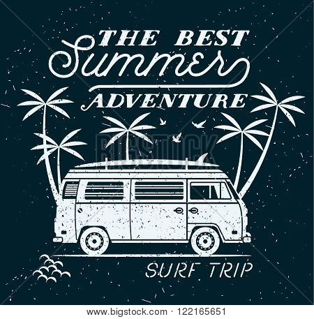 Vector Summer surfing retro badge. Beach surfer emblem , outdoors banner, vintage background. Boards, retro car. Surf icon design. For summer surf Logotype, label, party brochure.