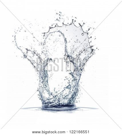 water splash with drops on the white background
