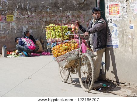 KATHMANDU NEPAL - CIRCA APRIL 2014: The street vendor selsl his fruits in Thamel in Kathmandu Nepal.