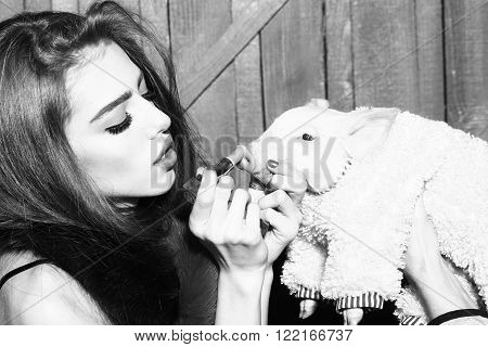 Beautiful young sensual fashionable woman in stylish scarf holding cute pink small pig pet in cloth and lipstick in hands on wooden background black and white horizontal picture