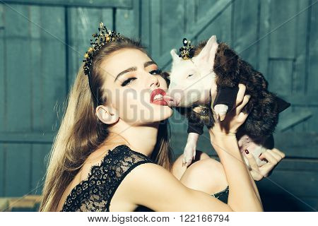 Young Woman And Pig