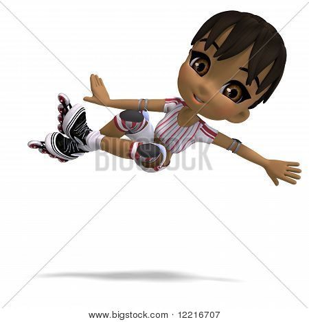 cute cartoon girl with inline skates