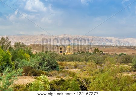 view on St.John church near baptism site in Jordan river Valley. Bethany, beyond the Jordan. Autumn sunny day in Jordan.