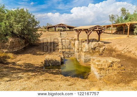 The site where Jeasus was baptized in river Jordan. This site, Betania at Jordan River in Jordan, is considered to be the site of the baptism of Jesus.