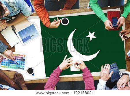 Pakistan National Flag Business Team Meeting Concept