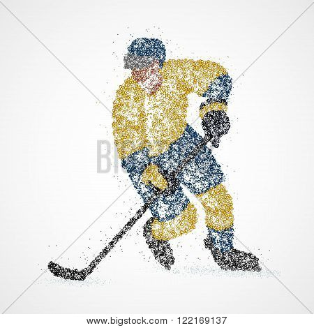 Abstract hockey player of colorful circles. Vector illustration.
