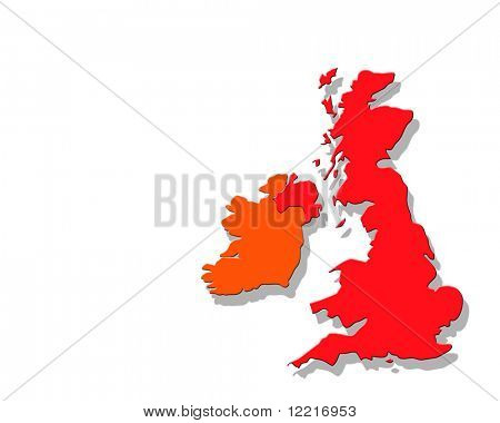 Outline map of Britain with drop shadow