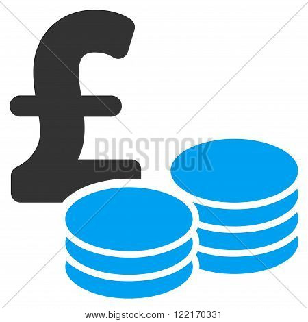 Pound Coins vector icon. Isolated pound coins icon graphic.