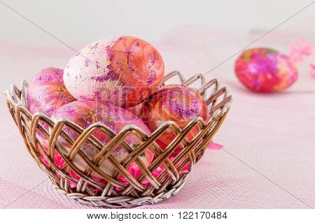 Pink Decorated Easter Eggs