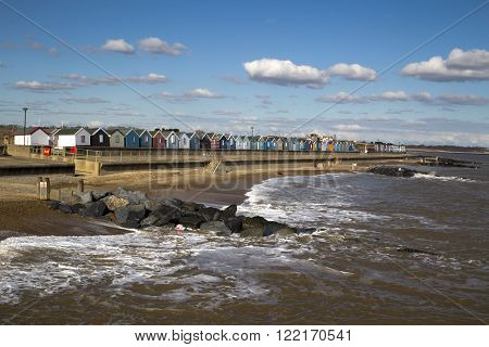 Southwold Sea Front, Suffolk, England, on a sunny day.