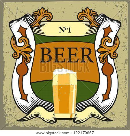 Beer label design. Beer label for brasserie restaurant with beer glasses and ribbon on vintage background.Vintage style.