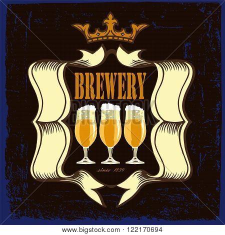 Beer label design with beer glasses. Beer label for brasserie restaurant with dark beer glasses and crown on vintage background.Vintage style.