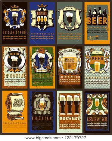 Beer labels design set. Design set contains different beer labels. Vintage style.