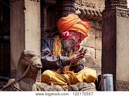 Sadhu With Traditional Painted Face  In Bhaktapur, Nepal