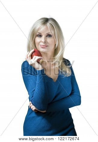 Caucasian woman holding apple against white background