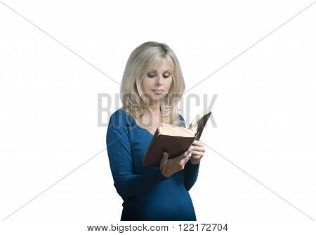 Woman reading Christian Bible against white background
