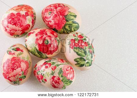 Decoupage decorated Easter eggs from a top view