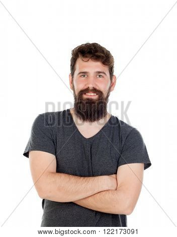 Handsome man with long beard wearing black t-shirt isolated on white