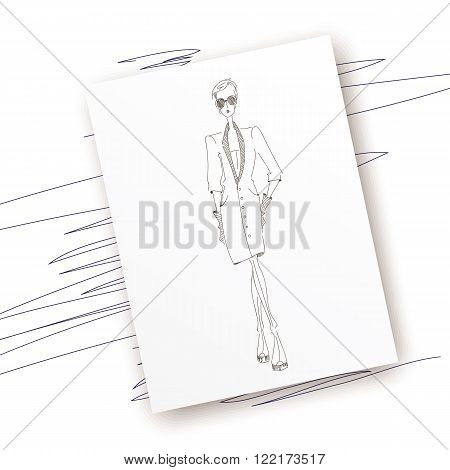 Vector fashion model. Vector sketch silhouette. Dress pencil sketch. Vector fashion outline. Vector style  lady. Vector fashion girl. Magazine cover. Vector design elements