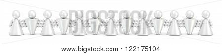 Abstract symbol people figures in row. 3D render illustration isolated on white background