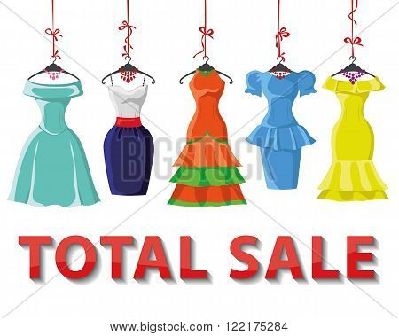Woman dresses on a hanger and fashion accessories set.Summer party. Short skirt elegant bright color design lady dress  collection.Vector art image illustration.Total Sale background, template