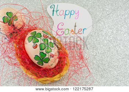 Happy Easter Card With Clover Decorated Easter Eggs
