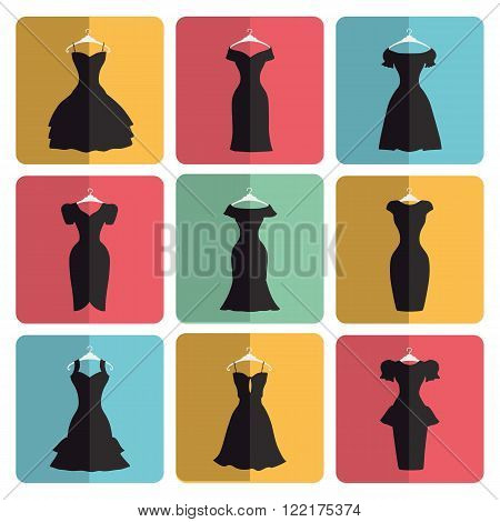 Fashion dress.Flat icons signs.Different styles of little black party dresses, Silhouette set.Modern vector simple Composition.Illustration for web, mobile, print.Button with shadow