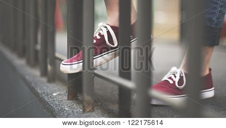 Street Style Wearing Youth Culture Shoes Concept