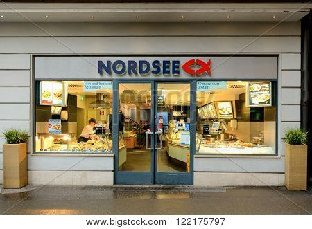 SALZBURG AUSTRIA - FEBRUARY 10 2016: A branch of the Nordsee fish restuarant in Salzburg Austria.