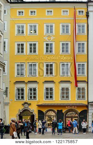 SALZBURG AUSTRIA - FEBRUARY 10 2016: Exterior of Mozarts birthplace museum building in Salzburg Austria.