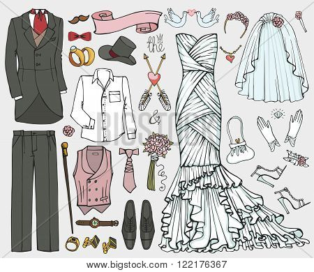 Wedding fashion wear.Doodle bride dress, groom suit.Vintage clothing set.Hand drawn Vector Illustration, sketch.Retro  kit.Bridal shower elements, holiday icons.For invitation card.Bachelor, stag party