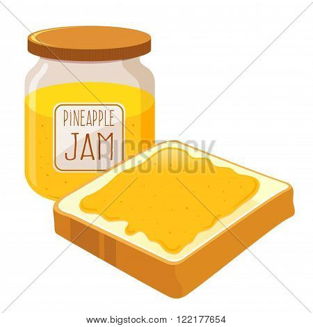 Pineapple jam spread on top of a slice of bread vector illustration