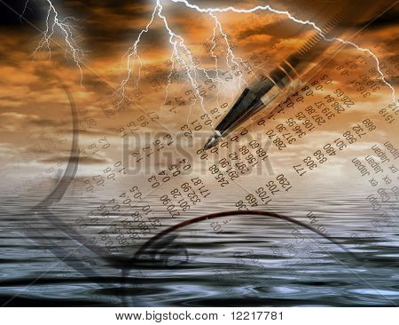 Conceptual image of financial abstract and stormy weather
