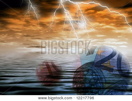 Conceptual image of Euro bank notes and and stormy weather
