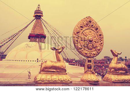 Buddhist Boudhanath Stupa in Kathmandu Nepal . Instagram toning effect.