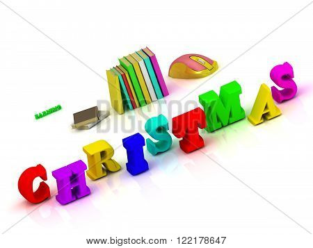 Christmas bright volume letter and colour books on white background